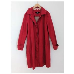 VINTAGE Gap Red Trench Coat / Fall Jacket Sz Large
